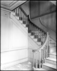 Beverly, 115 Cabot Street, George Cabot house, interior detail, stairway, newel
