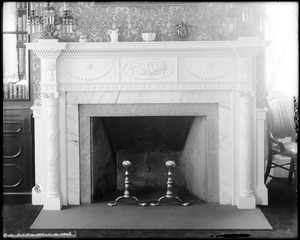 Salem, 128 Essex Street, interior detail, east parlor, mantel, Joseph Gardner house