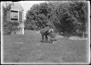 Charles W. Parker with dog, Marblehead, MA