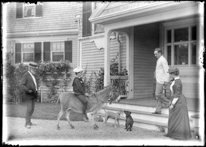 "Charles W. Parker (in jacket and hat) with family at ""Redgate,"" Marblehead, MA"