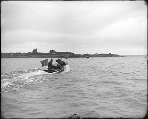 """Launch (""""Mercedes, USA"""") with people approaching land (Marblehead Neck?)"""