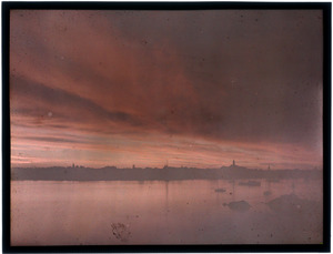 View across Marblehead Harbor at sunset