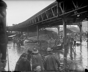 Wreckage under the elevated where many express trucks parked, Molasses Disaster