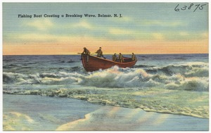 Fishing boat creating a breaking wave, Belmar, N. J.