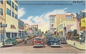 Clematis Street looking west, West Palm Beach, Florida