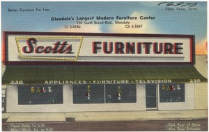 Scotts Furniture, Glendale's largest modern furniture center, 230 South Brand Blvd., Glendale