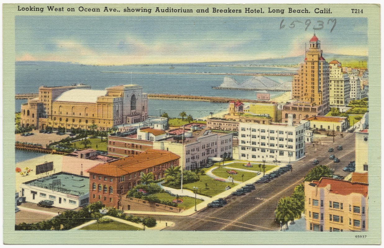 Looking West On Ocean Ave Showing Auditorium And Breakers Hotel Long Beach Calif