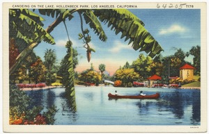 Canoeing on the lake, Hollenbeck Park, Los Angeles