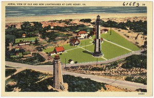 Aerial view of old and new lighthouses at Cape Henry, VA.