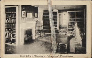 """Public library, """"Changing or Fiction Room,"""" Hyannis, Mass."""