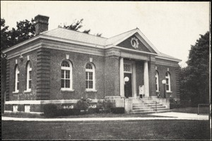 View of library in Mattapoisett, Mass., showing front and side of building