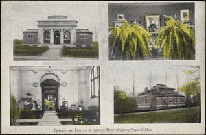 Exteriors and interiors of Lawrence Memorial Library, Pepperell, Mass.