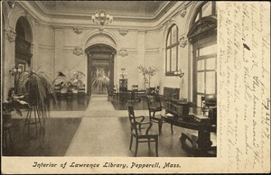Interiors of Lawrence Library, Pepperell, Mass.