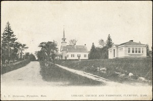 Library, church and parsonage, Plympton, Mass.