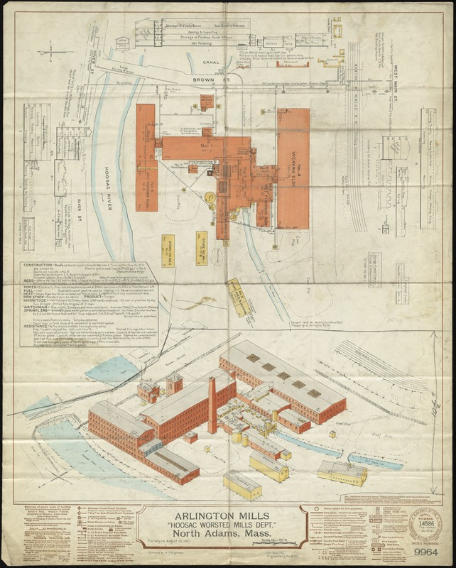"Arlington Mills ""Hoosac Worsted Mills Dept."" North Adams, Mass. [insurance map]"