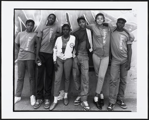 "Six young people stand, some wearing shirts that read, ""Boston Redevelopment Authority Summer '86"""