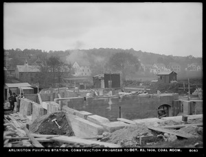 Distribution Department, Arlington Pumping Station, construction progress, coal room, Arlington, Mass., Oct. 23, 1906