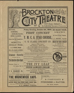 First concert in the Y.M.C.A. Star Course by the G.R. Clark Concert Co.