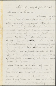 Letter from Aaron Macy Powell, Ghent, [N.Y.], to William Lloyd Garrison, Sept[ember] 7. 1862