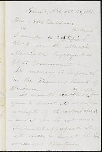 Letter from Aaron Macy Powell, Ghent, [N.Y.], to William Lloyd Garrison, Oct[ober] 30, 1863