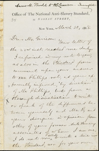Letter from Aaron Macy Powell, Ghent, [N.Y.], to William Lloyd Garrison, March 30, 1868