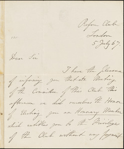 Letter from Charles De La Pryme, London [England], to William Lloyd Garrison, [18]67 July 5