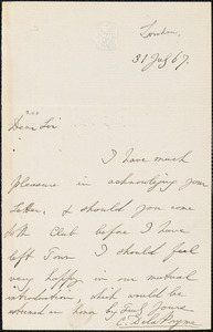 Letter from Charles De La Pryme, London [England], to William Lloyd Garrison, 1867 July 31