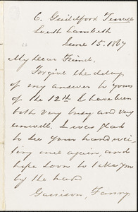 Letter from Egeorge Thompson, South Lambeth, [London, England], to Richard Davis Webb, 1867 June 15
