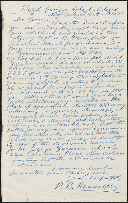Letter from Paschal Beverly Randolph, New Orleans, [Louisiana], to William Lloyd Garrison, 1865 Oct[ober] 14th