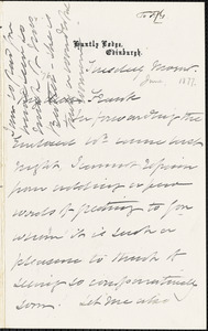 Letter from Elzabeth Pease Nichol, Edinburgh, [Scotland], to Francis Jackson Garrison, [1877 June]