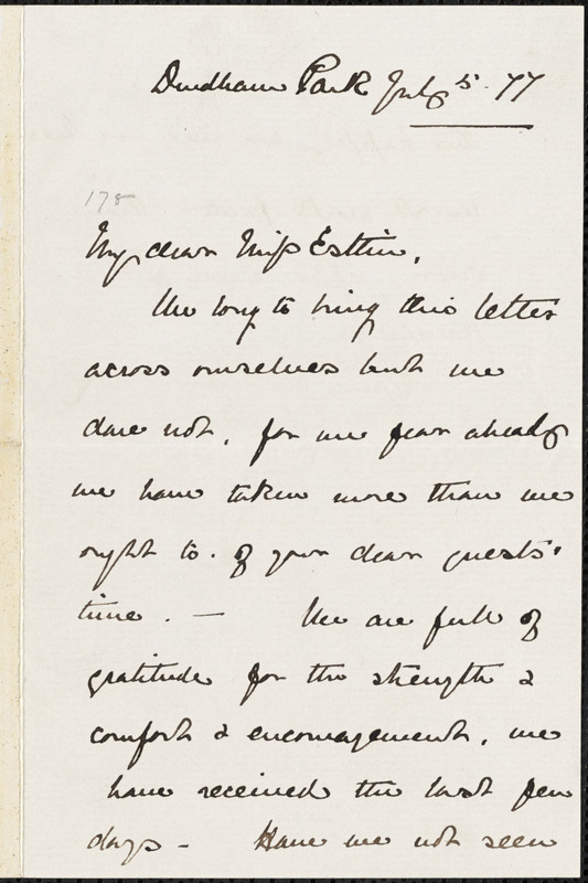 Letter from Anna Maria Priestman, [Bristol, England], to Mary Anne Estlin, [18]77 July 5