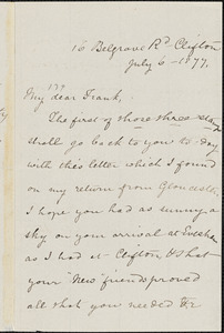 Letter from Mary Anne Estlin, Clifton, [Bristol, England], to Francis Jackson Garrison, 1877 July 6