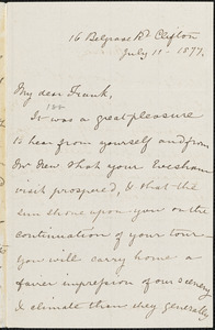Letter from Mary Anne Estlin, Clifton, [Bristol, England], to Francis Jackson Garrison, 1877 July 11