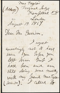 Letter from Sarah Parker Remond, London, [England], to William Lloyd Garrison, 1867 August 19