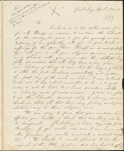 Letter from Abby Hadassah Smith and Julia E. Smith, Glastonbury, [Connecticut], to William Lloyd Garrison, 1837 April 14th