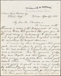 Letter from Michael Waller Robinson, Chicago, [Illinois], to William Lloyd Garrison, 1868 Apr[il] 27