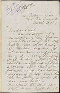 Letter from Emilie Ashurst, West Brompton S.W., [London, England], to Richard Davis Webb, [18]72 March 28