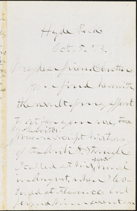 Letter from Theodore Dwight Weld, Hyde Park, [Boston, Massachusetts], to William Lloyd Garrison, [18]73 Oct[ober] 5