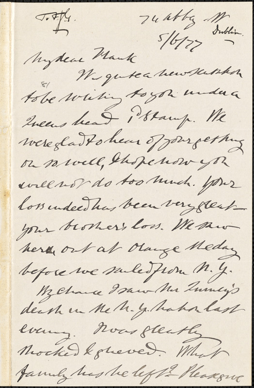 Letter from Alfred Webb, Dublin, [Ireland], to Francis Jackson Garrison, [18]77 [June 5]