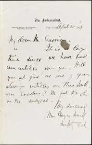 Letter from William Hayes Ward, New York, [New York], to William Lloyd Garrison, 1879 April 25