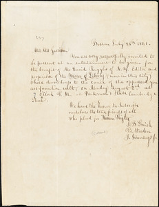 Letter from Joshua Bowen Smith, Benjamin Weeden, and T. Jimmings Jr., Boston, [Massachusetts], to William Lloyd Garrison, and Helen Eliza Garrison, 1841 July 28th