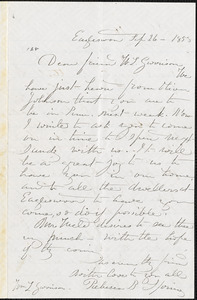 Letter from Rebecca Buffum Spring and Marcus Spring, Eagleswood, [Perth Amboy, New Jersey], to William Lloyd Garrison, 1858 Sep[tember] 26