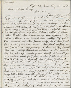 Letter from George Draper, Hopedale, Mass[achusetts], to Horace Greeley, 1864 Aug[ust] 21