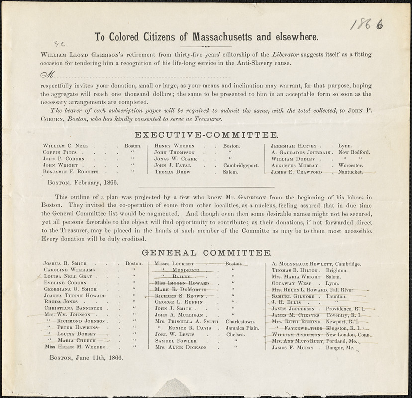 """Printed circular: """"To colored citizens of Massachusetts and elsewhere"""""""