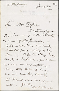 Letter from Charles Buxton, Fox Warren, Cobham, [England], to Frederick William Chesson, [1867] June 20