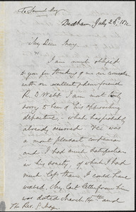 Letter from Edmund Quincy, Dedham, [Massachusetts], to Samuel May, 1872 July 23