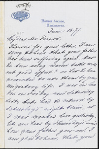 Letter from Louis Borchardt, Manchester, [England], to Francis Jackson Garrison, [18]77 June 17