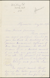 Letter from Nathaniel B. Spooner and Zilpha Harlow, Plymouth, [Massachusetts], to William Lloyd Garrison, 1876 May 22