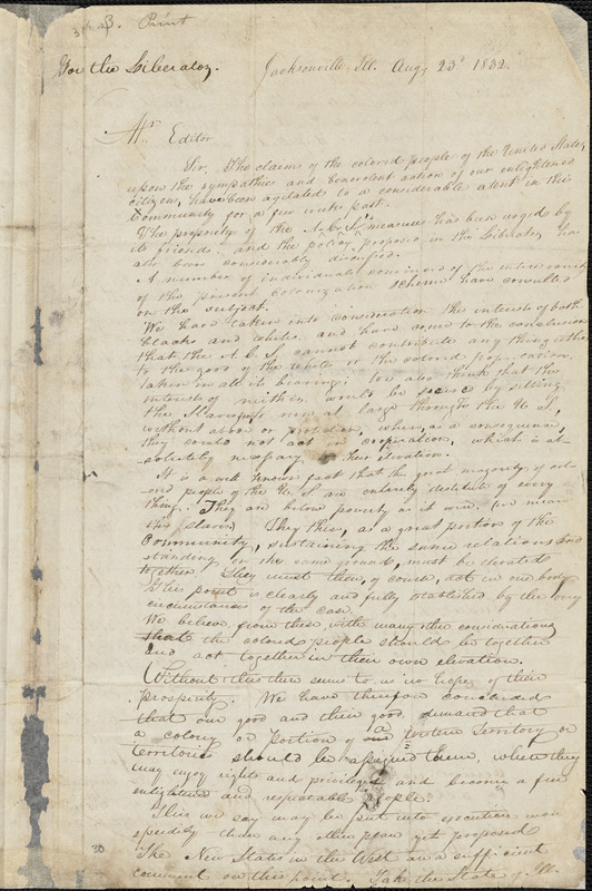 Letter from James P. Stewart and Robert W., Jacksonville, Ill[inois], to William Lloyd Garrison, 1832 Aug[ust] 23d