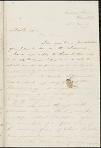 Letter from Harriet Beecher Stowe, Andover, [Massachusetts], to William Lloyd Garrison, 1853 Nov[ember] 30
